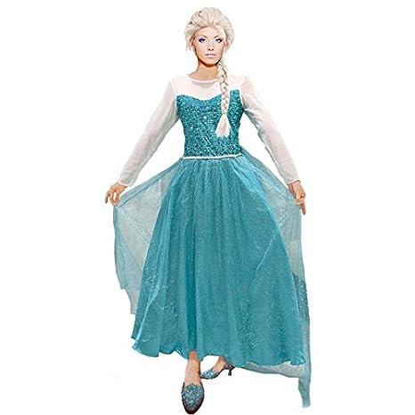 Partilandia Disfraz Reina de Hielo Azul Mujer Adulto para Carnaval (L)