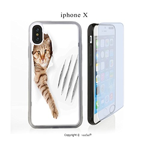 iPhone X Case, vanfan iphone X/10 Case-ole with Claw Scratches Playful Kitten Cute(transparence)e Design Hard PC Back Protective Cover Skin Case For Apple iphone X-iPhone X Screen Protector - Ole Ma