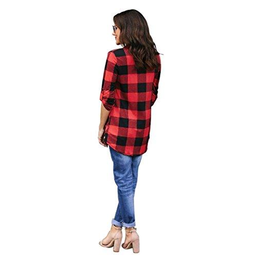 Femmes Chemisier Mode Carreaux Travail AIMEE7 Shirts T Rouge V Bureau 3 Manches 4 Printemps Col P5CBqp