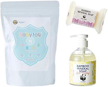 ベビタブ(45錠入り)重炭酸入浴剤 沐浴剤+オーガニック石鹸+無添加洗濯洗剤セット3点セット