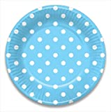 LolliZ 9 in. Paper Plates. Blue & Polka Dots, 12- Pieces