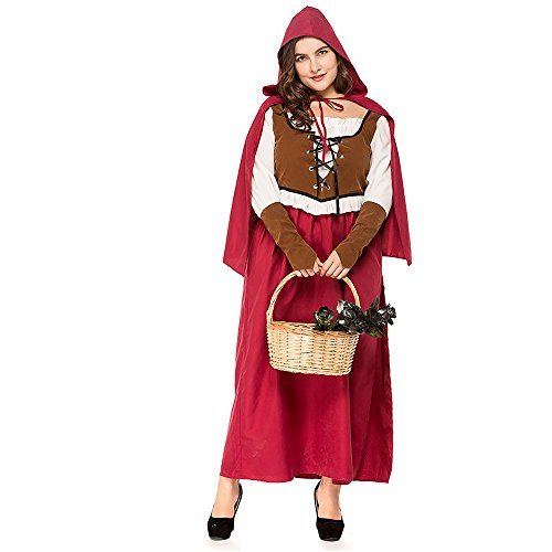 COUTUDI 4pcs Womens Plus Size Halloween Costume Little Red Riding Hood Costume]()