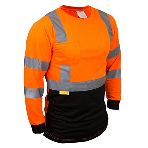 Troy TSBFL8711 Class 3 High Visible Long Sleeve Black Bottom Safety T Shirts Moisture Wicking Mesh with 2 Inch Replective Tapes (Orange, Medium) (Orange Construction Tape)