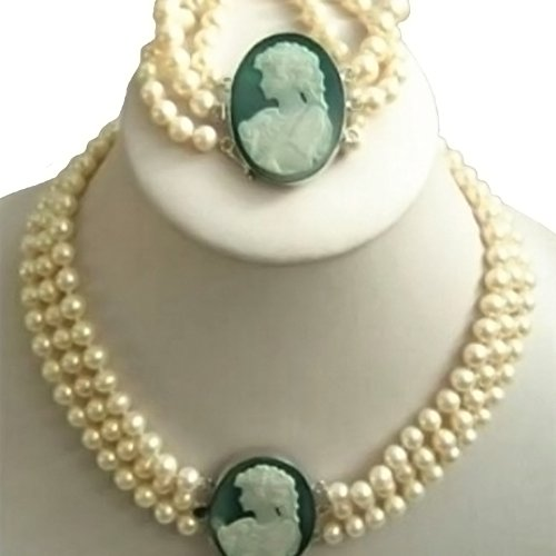 ladys-3-row-7-8mm-white-akoya-pearl-cameo-necklace-bracelet-beads-jewelry-sets-making-natural-stone-