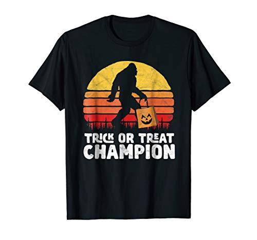 Trick or Treat Champion Bigfoot Funny Halloween Shirt