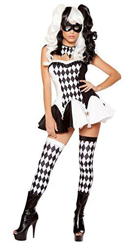 Ougaoga Cute Funny Premium Hot Black & White Clown Pretty Halloween Fancy Ball Party Costumes