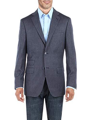 DTI BB Signature Men's Dress Suit Jacket Two Button Birdseye Modern Fit Blazer (54 Long US / 64L EU, French Blue) ()