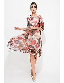 JIALELE Vestido Fiesta Mujer,De Fiesta Una Línea De Mujeres Vestido Floral,Cuello Redondo