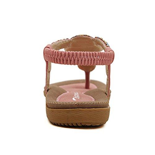 con hippy cinturino a donna strass Pink infradito fiori elasticizzati con estivi T spiaggia da Zicac da sandali e stile XIxZ4wqXt