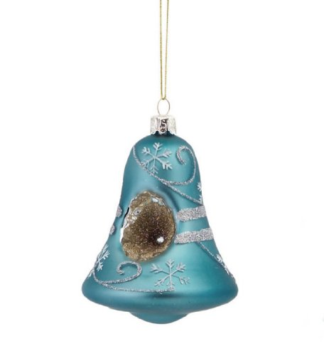 Melrose Matte Antique Blue Snowflake Bell Christmas Ornament ()