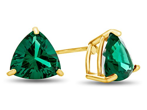 Finejewelers 7x7mm Trillion Simulated Emerald Post-With-Friction-Back Stud Earrings 10 kt Yellow Gold