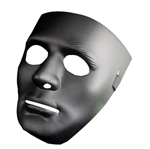 Hip Hop Costume For Guys (Men Guys Boy Hip- hop dance Mask Halloween Thickening PVC With Adjustable Elastic Costume Mask Cosplay Mask (Black))