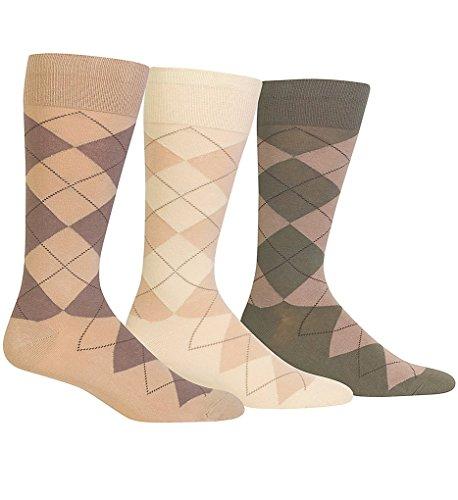 Polo Ralph Lauren Argyle Cotton Crew Socks 3-Pack, One Size, Khaki Assorted -