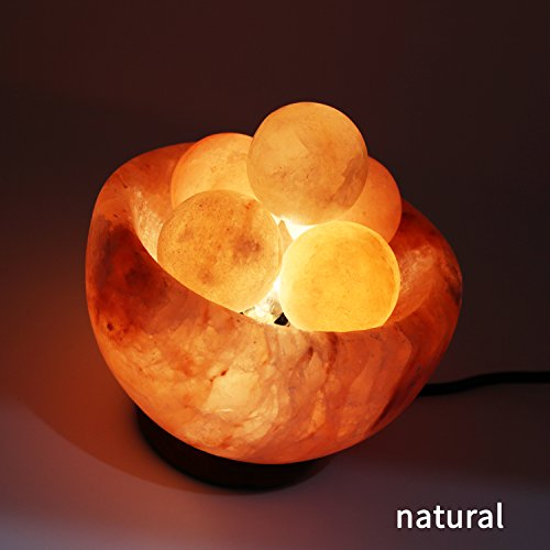 UMAID Natural Himalayan Rock Sea Salt Lamp Bowl With 6 Heated Salt Massage balls, Stylish Wood Base, Bulb With Dimmable Switch UL-Listed Cord by UmAid (Image #5)