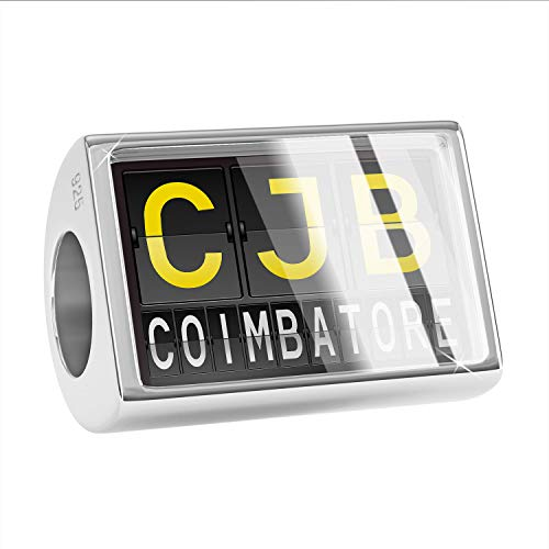 NEONBLOND Charm CJB Airport Code for Coimbatore 925 Sterling Silver Bead