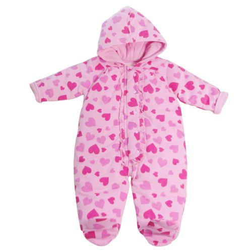Pitter Patter Baby Clothes (Infants Pink Snowsuit with Heart Print and Frill on Placket 6-9 Months)