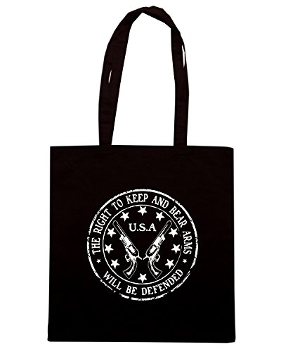 T-Shirtshock - Bolsa para la compra TM0652 the right to keep and bear arms will be defended Negro