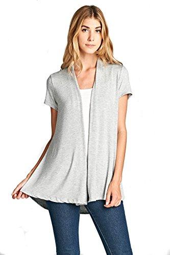 (ReneeC. Women's Extra Soft Natural Bamboo Short Sleeve Summer Cardigan (X-Large, Grey))