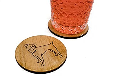"Premium Jack Russell Terrier Coasters - Set of 4 Handmade Engraved 3.5"" Round Wood Dog Owner Gift"