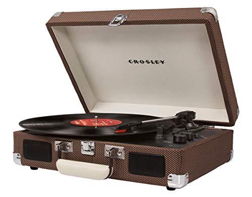 Crosley Cruiser Deluxe Vintage 3-Speed Bluetooth Suitcase Turntable, Tweed