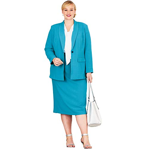 - Jessica London Women's Plus Size Single-Breasted Skirt Suit - Antique Turq, 26