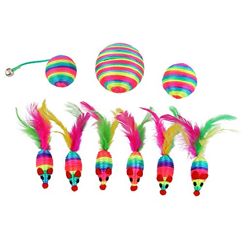 abobo Cat Toys - Rainbow Rattle rope balls/Mouse with Feather Tail for Pets/Cat/Kitten– 8 Pcs+1 Gift by abobo (Image #5)