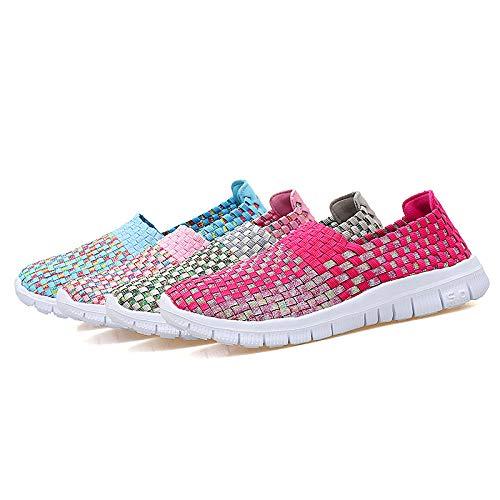 Suaves Verde Punto de Color de con para Transpirable Zapatos Zapatillas EU Deporte 40 Rosado Qiusa Mujeres Comodidad tamaño qwfO8xSWA