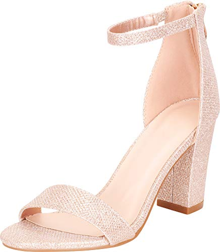 Cambridge Select Women's Open Toe Single Band Stretch Ankle Strappy Chunky Stacked Block Heel Sandal (8 B(M) US, Champagne Glitter) (Womens Dressing Shoes)