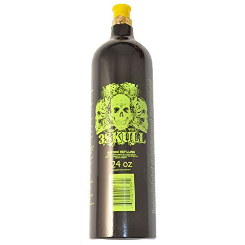 3Skull Paintball 24oz Co2 Aluminum Tank w/ pin valve - Lime