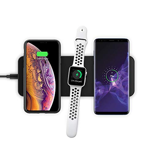 XVIDA Triple Power Magnetic Qi Wireless Charger Pad 3-1 Charging Station for Apple Watch Series 2-4, for iPhone Xs/Xs Max/XR/X, iPhone 8/8 Plus, Samsung S9/S8/S8+, Pixel 3/3 XL (w.QC 3.0 AC Adapter)