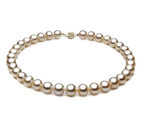 PearlsOnly - Blanc 10.5-11.5mm AAA-qualité perles d'eau douce 585/1000 Or Jaune-Collier de perles