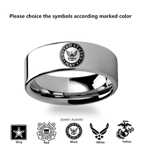 Naomi Military Symbol Logo Engraving Flat Polished Tungsten Ring - Army, Coast Guard, Navy, Marines, Air Force Black 9.5