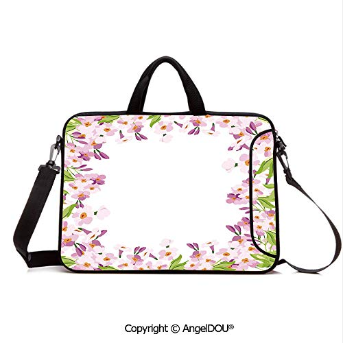 - AngelDOU Waterproof Laptop Sleeve Bag Neoprene Carrying Case with Handle & Strap Floral Frame with Pink Meadow Flowers Spring Foliage Blooms Nature Ornate Decora for Women &Men Work Home Office Mult