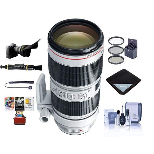 Canon EF 70-200mm f/2.8L is III USM AutoFocus Telephoto Zoom Lens, USA - Bundle with 77mm Filter Kit, Flex Lens Shade, Lens Wrap, Cleaning Kit, Lenspen Lens Cleaner, Capleash, MAC Software Package