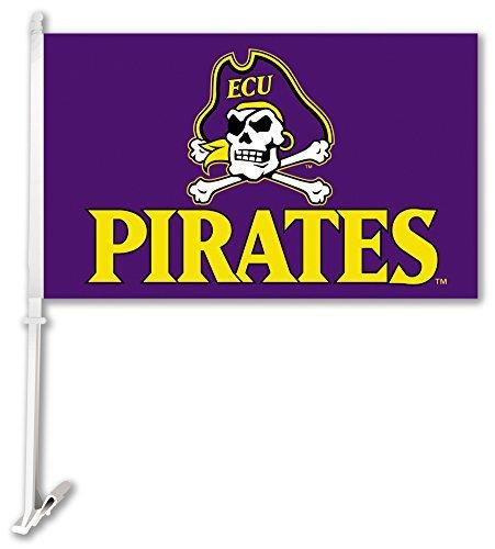 NCAA East Carolina Pirates Car Flag Skull and Bones with Free Wall Bracket