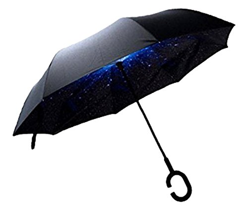 Amazon.com : Aloess Drop Shipping Wind-Proof Reverse Folding Double Layer Inverted Chuva Umbrella Self Stand Rain Protection C-Hook Hands for Car Stars ...