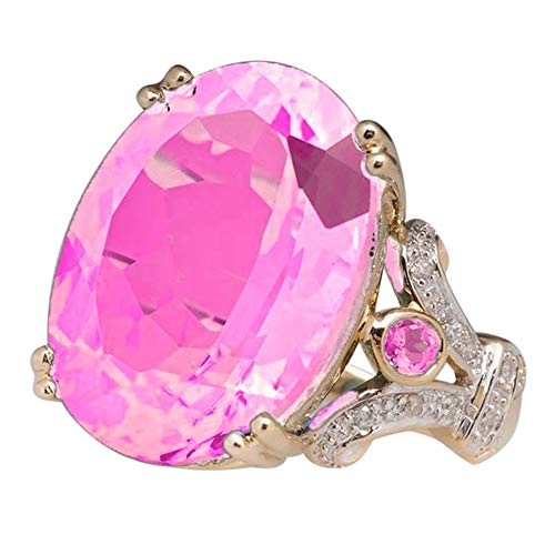Clearance! Paymenow Women Rings Shinning Natural Crystal Ruby Diamond Engagement Wedding Bridal Ring Bands (7#, Pink)