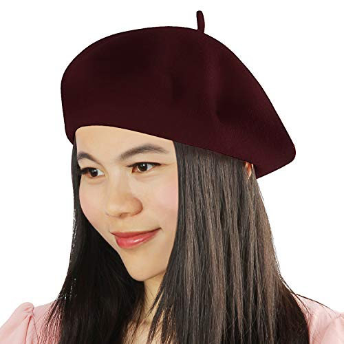 Acecharming Womens French Style Beret Wool Beanie Hat Cap(Thick, Burgundy)]()