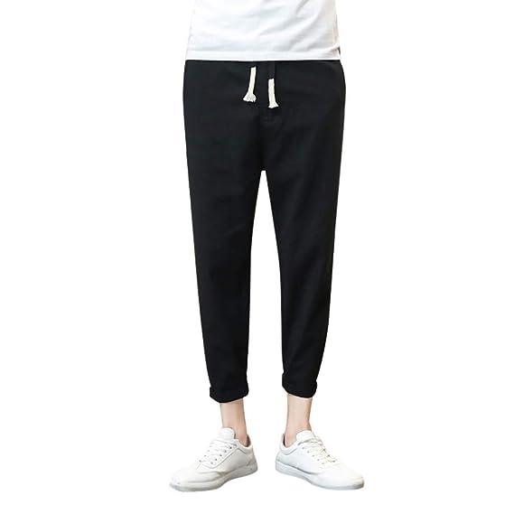 1f5bd64122 wodceeke Fashion Men Pure Color Pants, Cotton Linen Casual Drawstrintg  Elastic Waist Summer Beach Pants