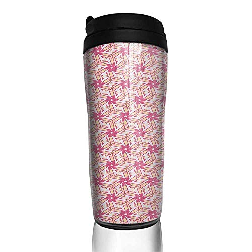 coffee cups for mom Pinwheel,Floral Style Curved Lines with Yellow Spots Distressed Effect in Retro Style, Pink and Yellow 12 oz,paper cup for coffee ()