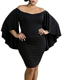 Women's Plus Size Off Shoulder Flare Sleeve Bodycon Party Midi Dress