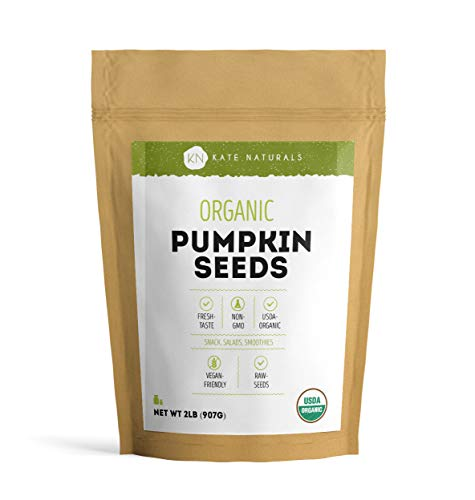 Organic Pumpkin Seeds Raw by Kate Naturals. Perfect for Snack, Salads & Smoothies. Unsalted. USDA Organic and NON-GMO. Large Resealable Bag. 1-Year Guarantee. (2 LBs)