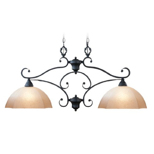 Livex Lighting 4322-54 Island Pendant with Sculpted Art Glass Shades, Distressed Iron ()
