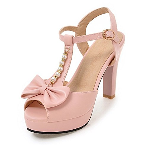 noche peep Verano parte PU comodidad sandalias hebilla mujer Primavera para de Stiletto Pink remache Bowknot Office Carrera talón toe Novedad Zapatos xwIqvHnw