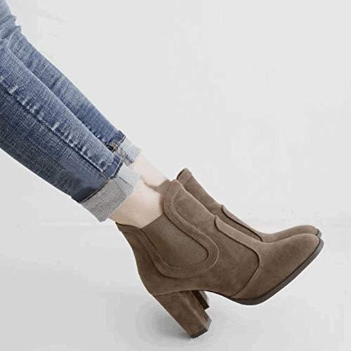AGECC Herbst Dicke Und Und Und Kurze Stiefel Mattierte Schuhe Nackte Stiefel Hochhackige Schuhe Martin Stiefel. 7a389e