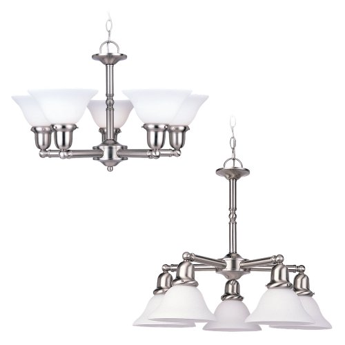 Sea Gull Lighting 31061-962 Sussex Five-Light Chandelier, Brushed Nickel Finish with Satin White Glass