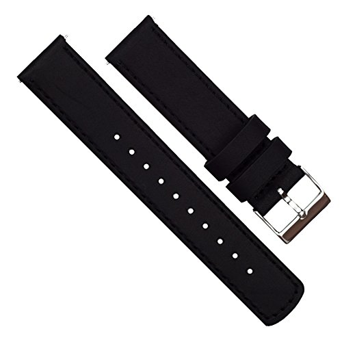 Barton Quick Release Top Grain Leather Watch Band Strap - Choose Color - 16mm, 18mm, 20mm, 22mm or 24mm - Black/Black 16mm by Barton Watch Bands (Image #1)