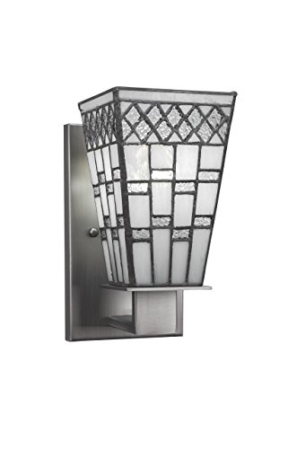 """Toltec Lighting 581-GP-9104 Apollo Wall Sconce with 5"""" Square Pewter Tiffany Glass, Graphite Finish"""