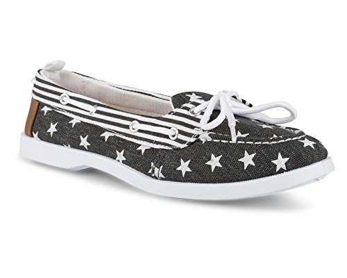 Twisted Women's Bonnie Stars and Stripes Canvas Boat Shoe - BONNIE120 Black/White, Size 9