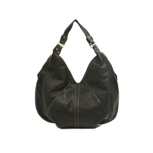 Piel Leather Large Hobo, Black, One Size